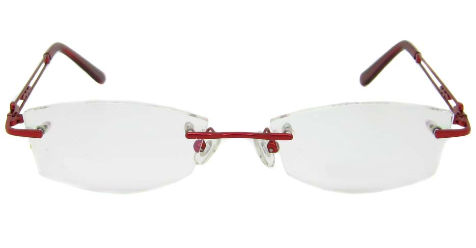 Red Metal rimless oval frame YJ-J8856-H