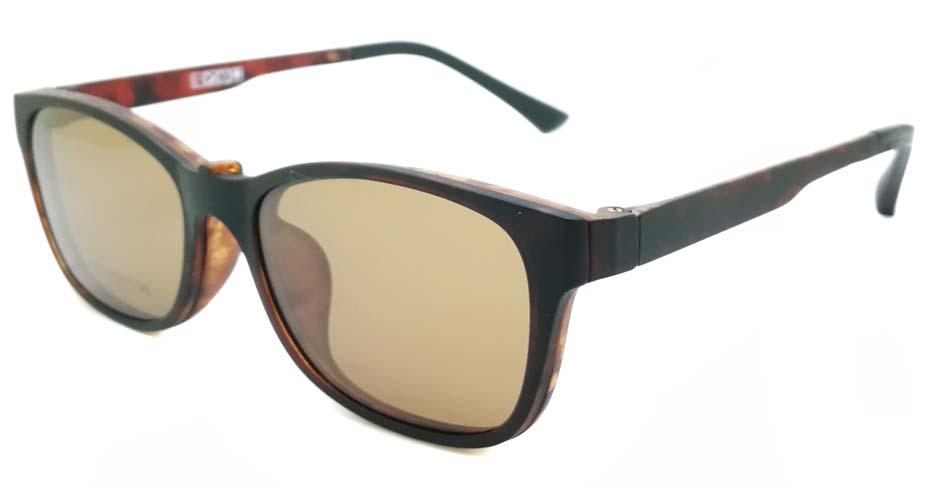 TR Oval Tortoise Polarized  Magnetic Clip on Sunglasses SM-3003-C4