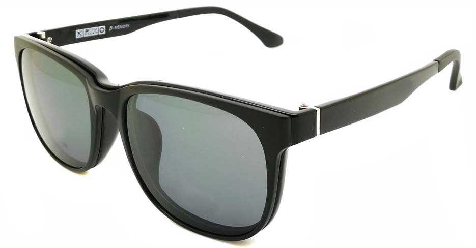TR Oval Black Polarized  Magnetic Clip on Sunglasses SM-2021-C001