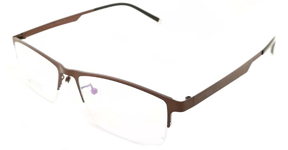 Brown oval  Titanium glasses frame JX-5512-C9
