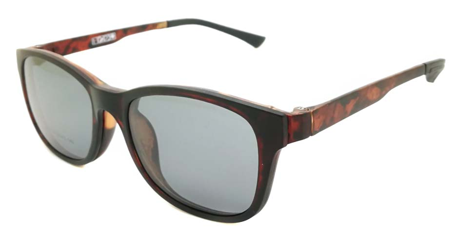 TR Oval Tortoise Polarized UV400  Magnetic Clip on Sunglasses SM-1020-C3