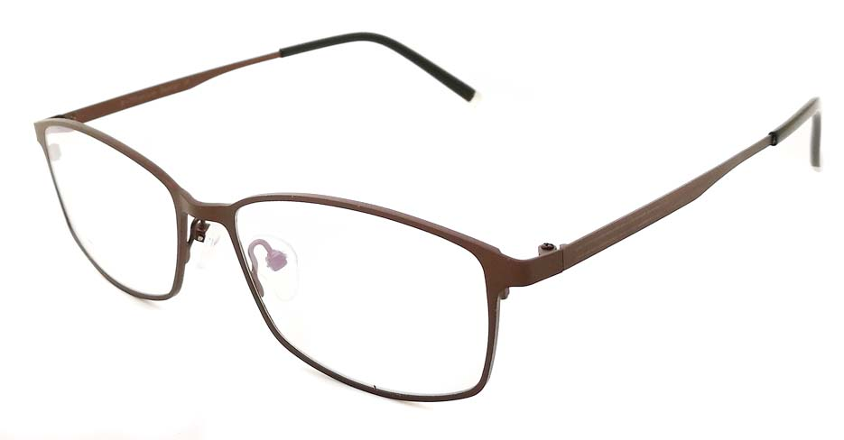 Brown oval  Titanium glasses frame JX-5508-C9