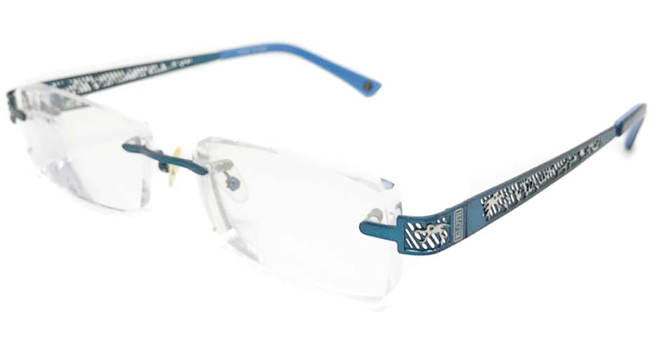 blue metal rimless rectangular glasss frame SNT-TH7006-C4