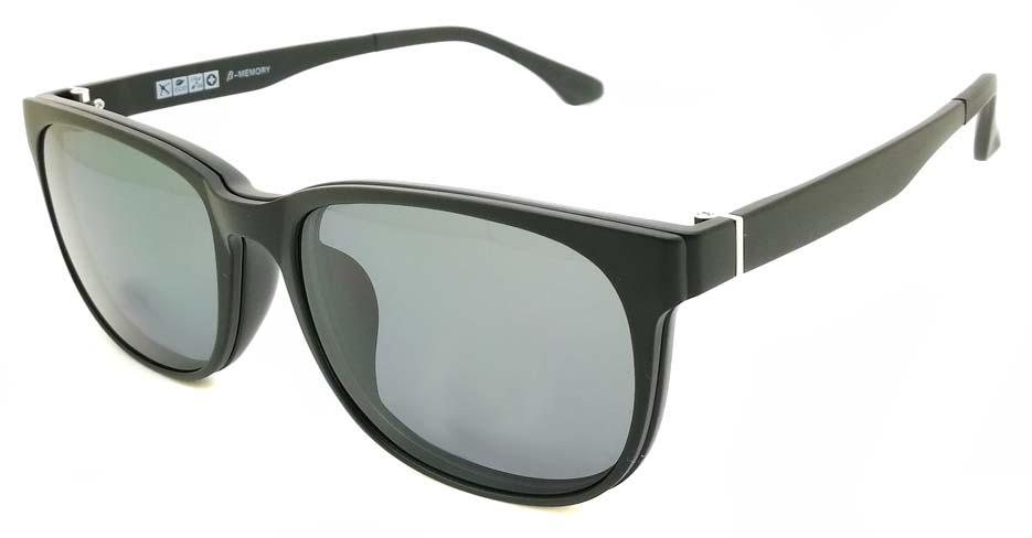 TR Oval Black Polarized  Magnetic Clip on Sunglasses SM-2021-C007