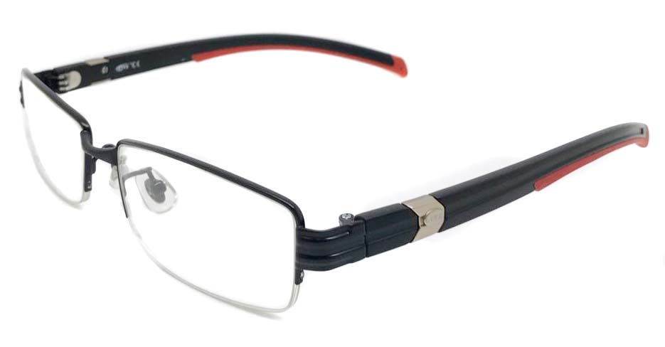 black with red blend oval sport glasses frame LT-G023J3-C1