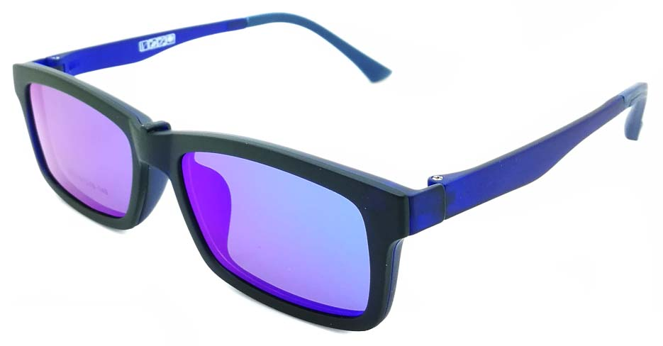 TR Rectangular Blue Polarized  Magnetic Clip on Sunglasses SM-3002-C3