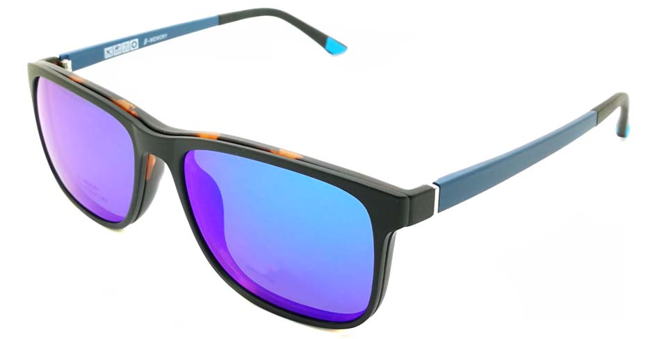 TR Oval Tortoise with Blue Polarized Magnetic  Clip on Sunglasses SM-2122-C238