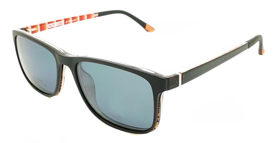 TR Oval Black with Tea Polarized Magnetic  Clip on Sunglasses SM-2122-C082