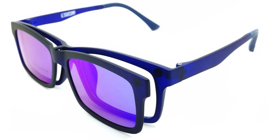 TR Rectangular Blue Polarized  Magnetic Clip on Sunglasses SM-3002-C3