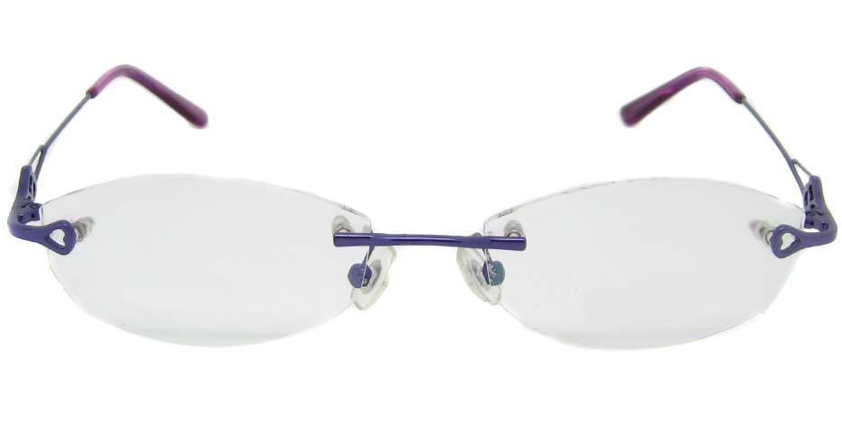 Purple metal cat eye rimless frame YJ-J6602-Z