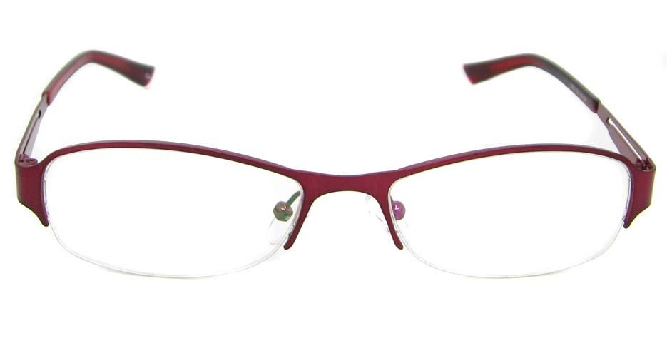Red metal oval glasses frame TD-CR2015-H