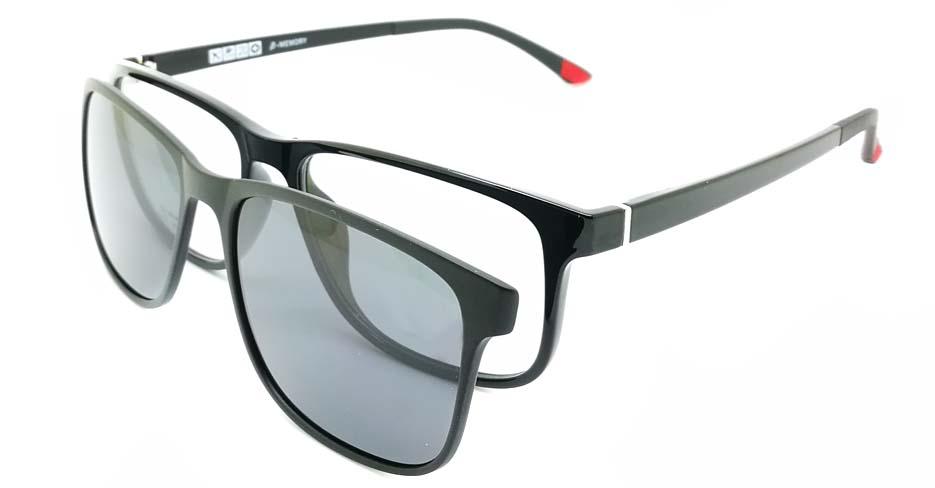 TR Oval Black Polarized Magnetic  Clip on Sunglasses SM-2122-C001