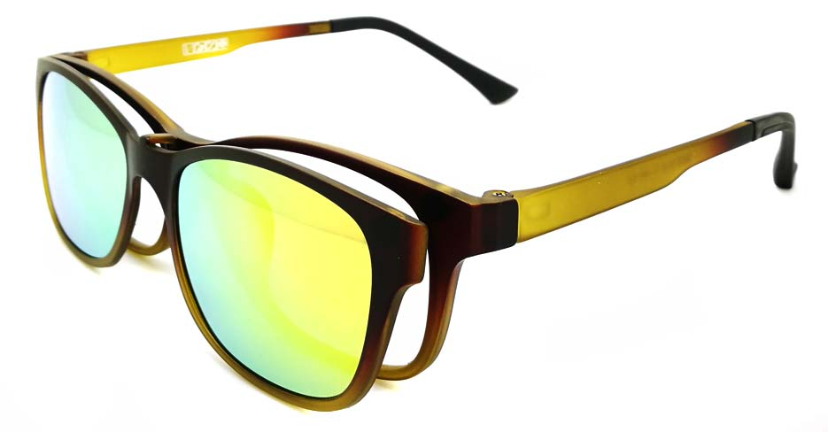 TR Oval tea with green Polarized  Magnetic Clip on Sunglasses SM-3003-C3