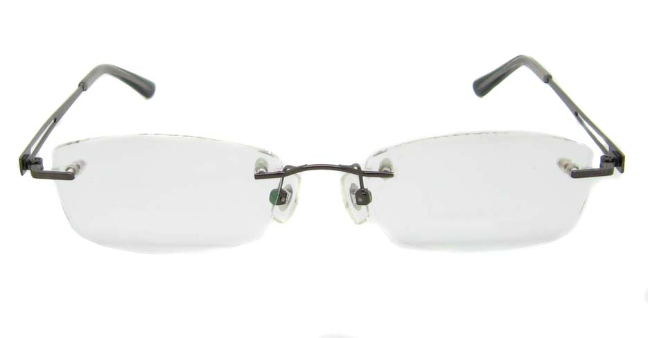 Grey metal rectangular rimless frame YJ-J1178-Q