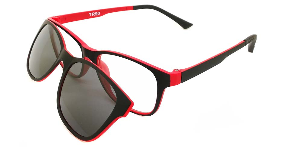 TR Oval Black with Red Polarized UV400 Magnetic Clip on Sunglasses SM-1020-C5