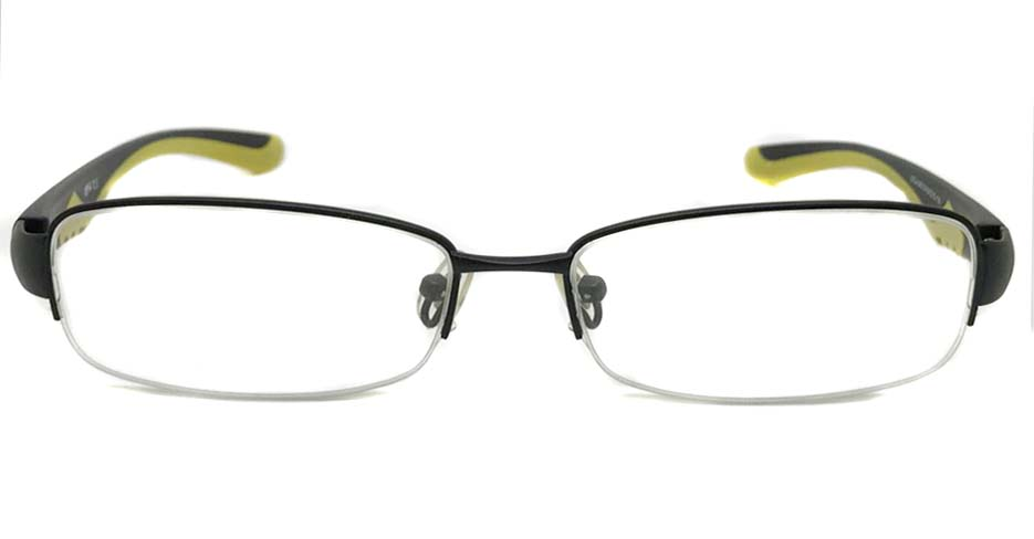 black with yellow blend Rectangular sport glasses frame LT-A040-C4