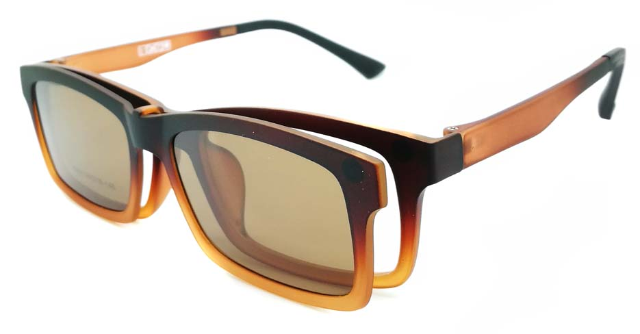 TR Rectangular Tea Polarized  Magnetic Clip on Sunglasses SM-3002-C2