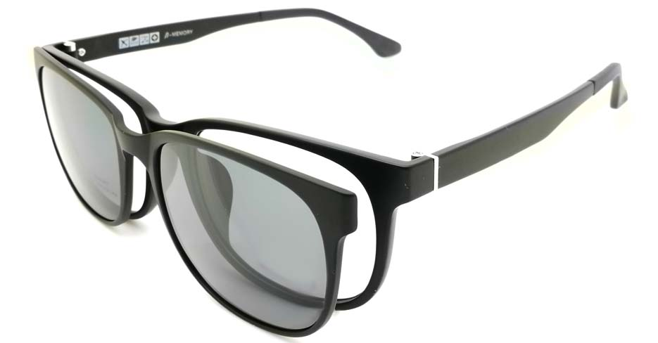 TR Oval Black Polarized  Magnetic Clip on Sunglasses SM-2021-C007