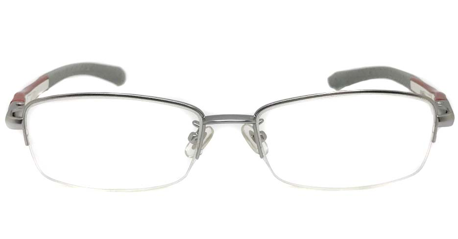 silver with red blend Rectangular sport glasses frame LT-A186-C2