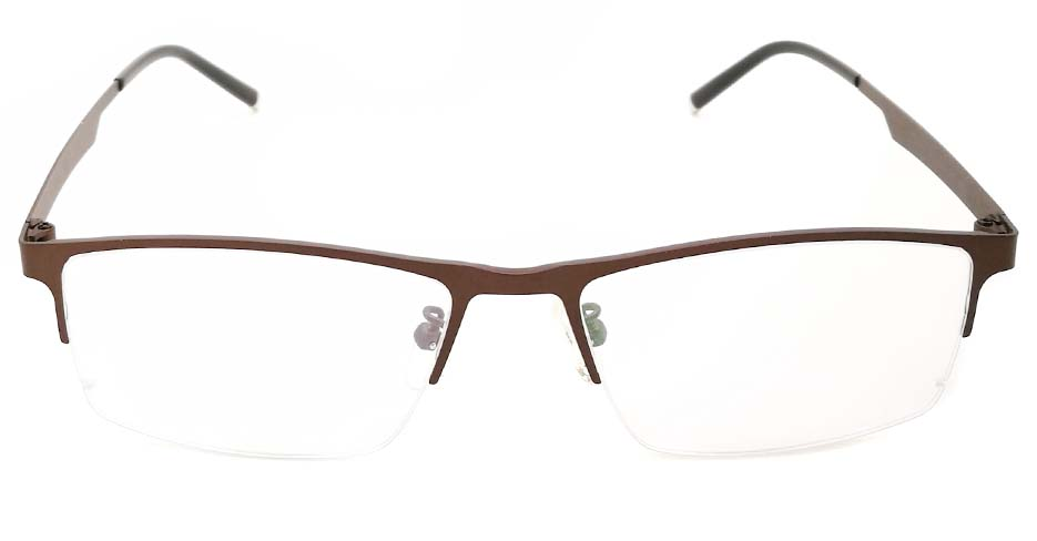 Brown oval  Titanium glasses frame JX-5512-C9