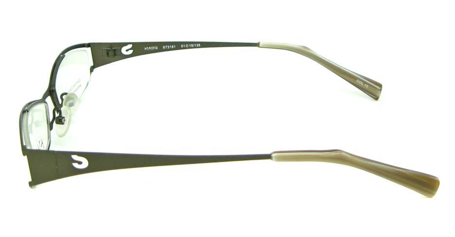 Khaki metal oval glasses frame HL-ST2172-10
