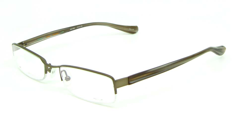 khaki blend rectangular glasses frame   HL-M2108-32