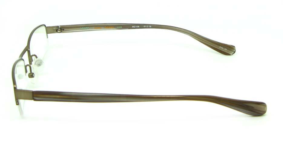 khaki blend rectangular glasses frame   HL-M2108-32