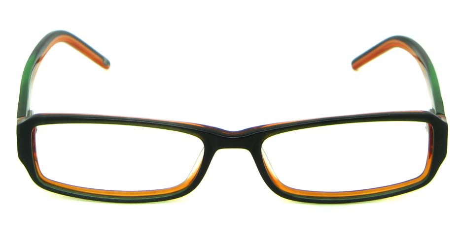 Brown with Green Acetate Rectangle  glasses frame HL-5465-B