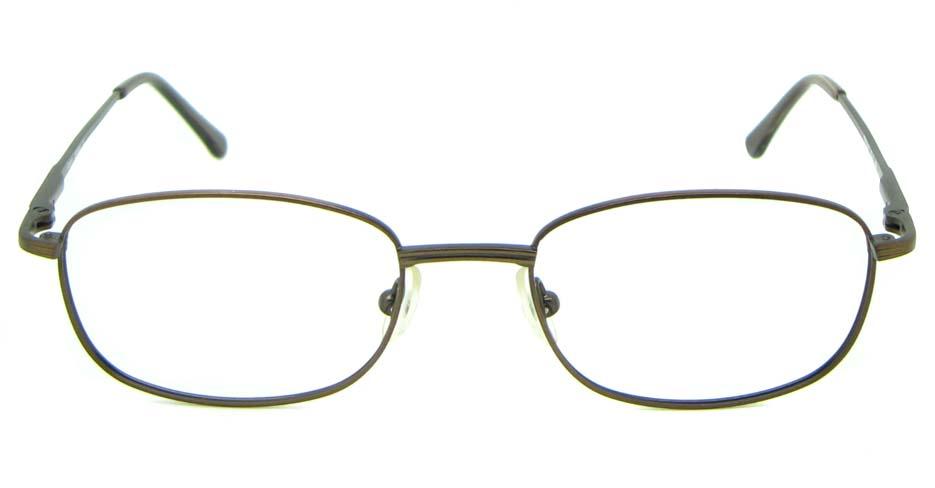 brown metal oval glasses frame HL-PM55445-BR