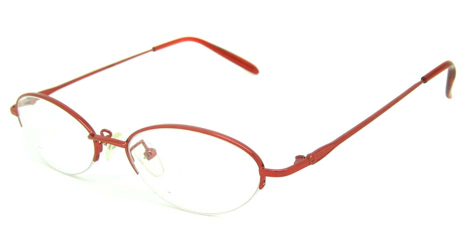 red metal oval glasses frame JS-SML3021