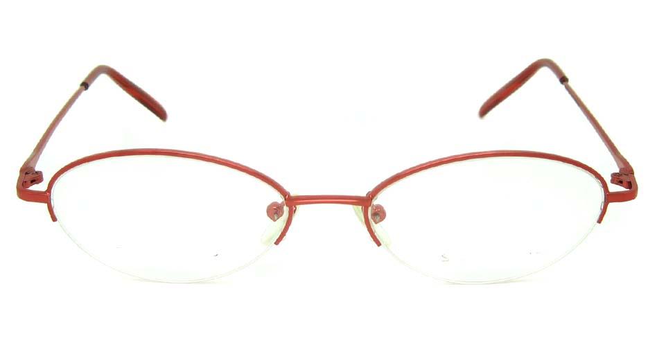 red metal oval glasses frame JS-SML3021