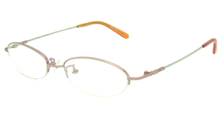 pink metal oval glasses frame JS-SH6014-C4