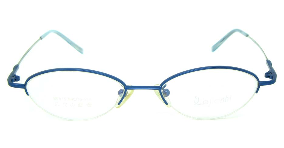 Blue metal oval glasses frame JS-LJS9915-L