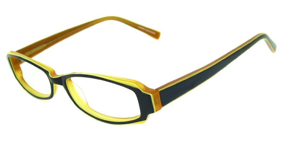 brown with black acetate rectangular glasses frame    HL-TOM4656-1013