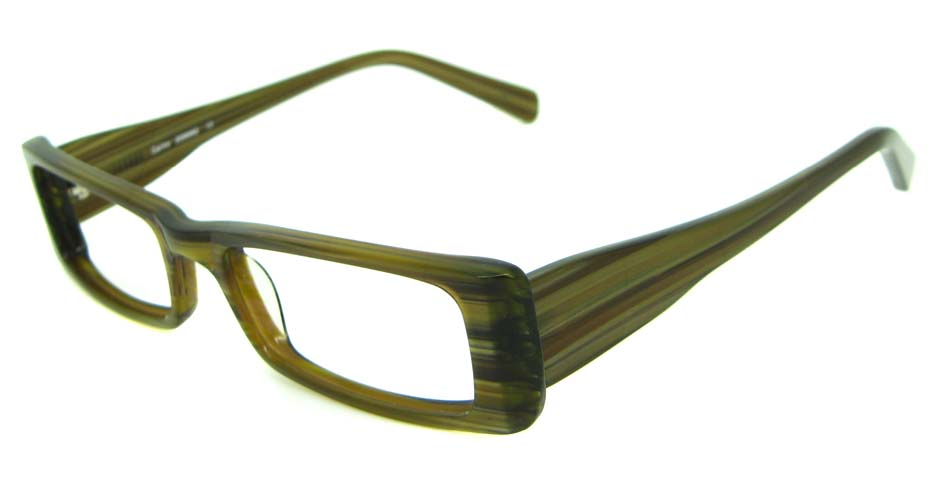 khaki acetate rectangular glasses frame HL-PK55651-GN