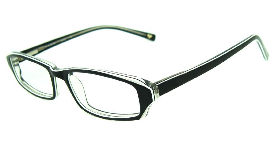 black acetate rectangular glasses frame HL-BE0001-HB