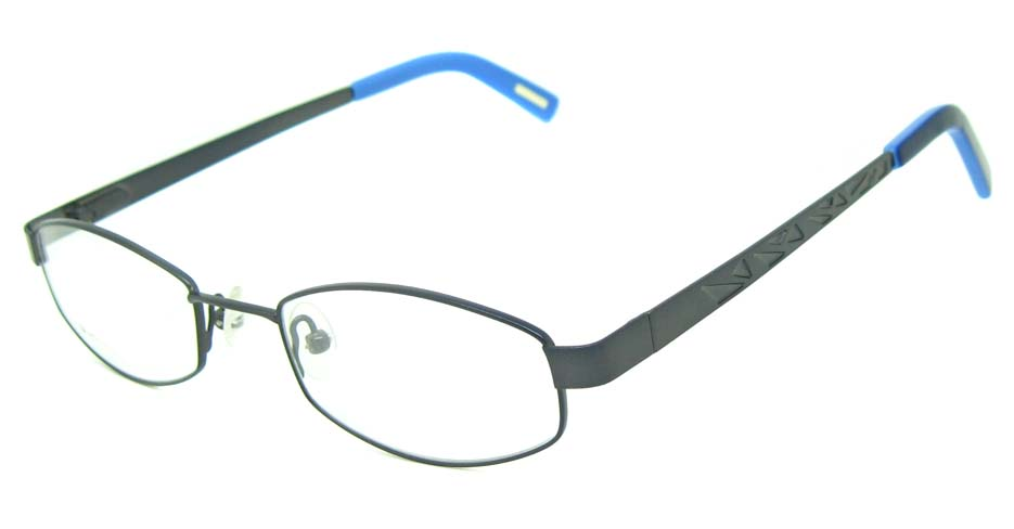 grey with blue metal rectangular glasses frame HL-DAK0001-HLS