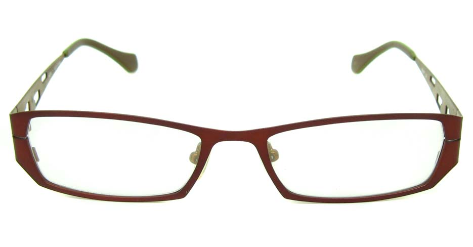red with yellow metal rectangular glasses frame HL-4239