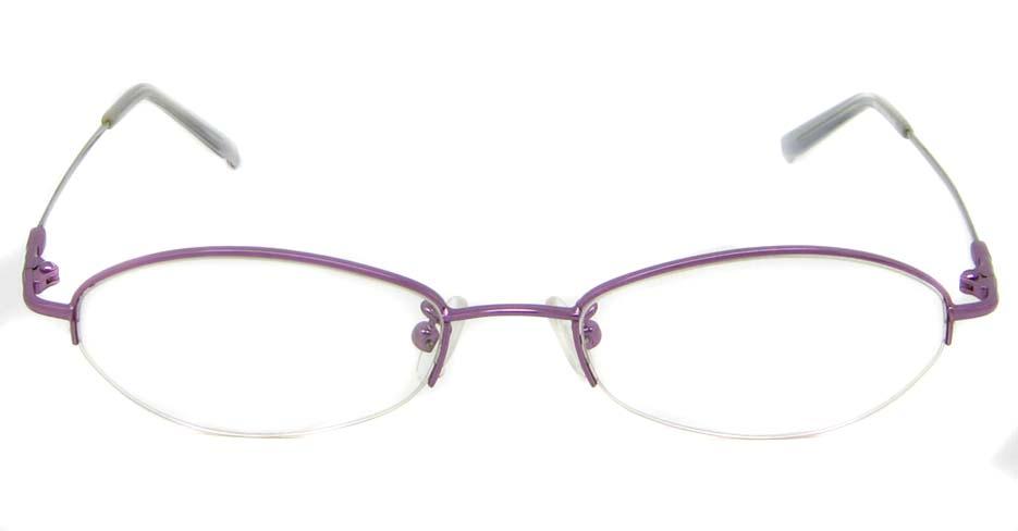 Purple metal oval glasses frame JS-LL9862-Z