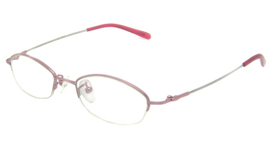 Pink metal oval glasses frame   JS-9920-F
