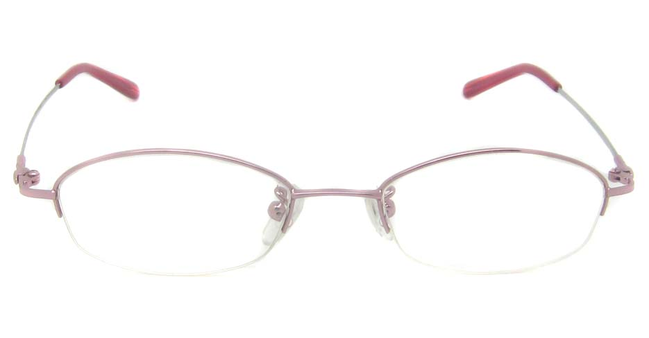 Pink metal oval glasses frame   JS-9920-F