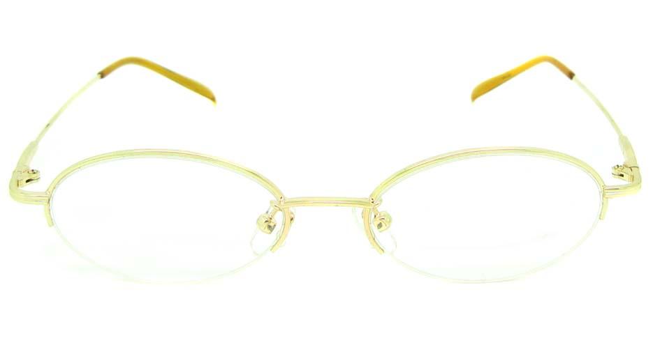 gold metal oval glasses frame  JS-SML3002-J