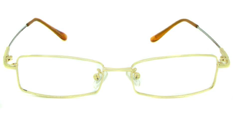 Gold metal rectangular glasses frame   JS-LJS9922-J