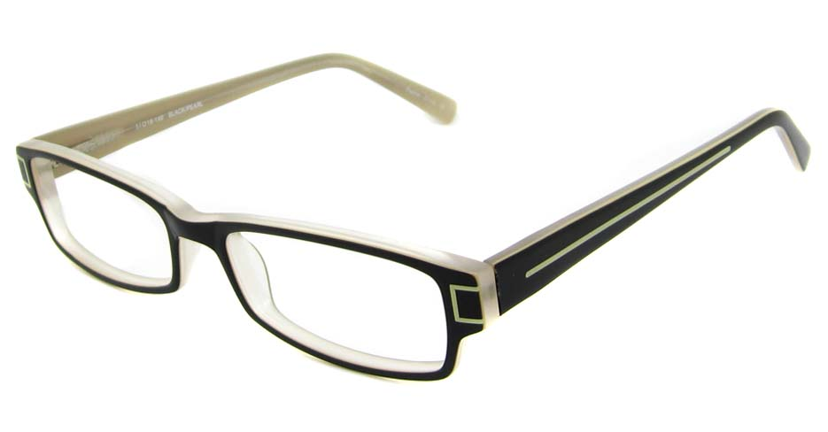 Black acetate rectangular glasses frame HL-PILLAR01-HS