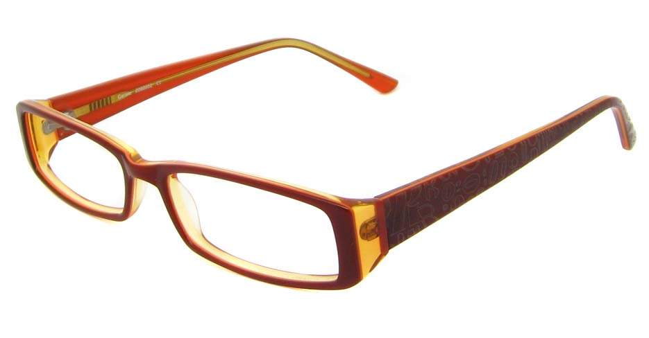 Brown acetate rectangular glasses frame   HL-PK-55646