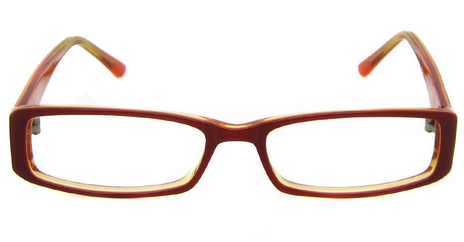 Brown acetate rectangular glasses frame   HL-PK-55646