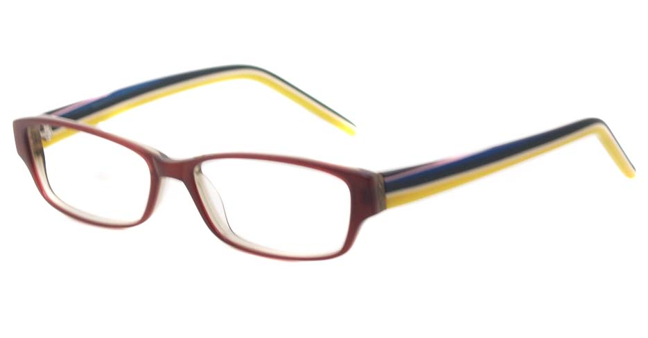 Orange acetate rectangular glasses frame HL-3959