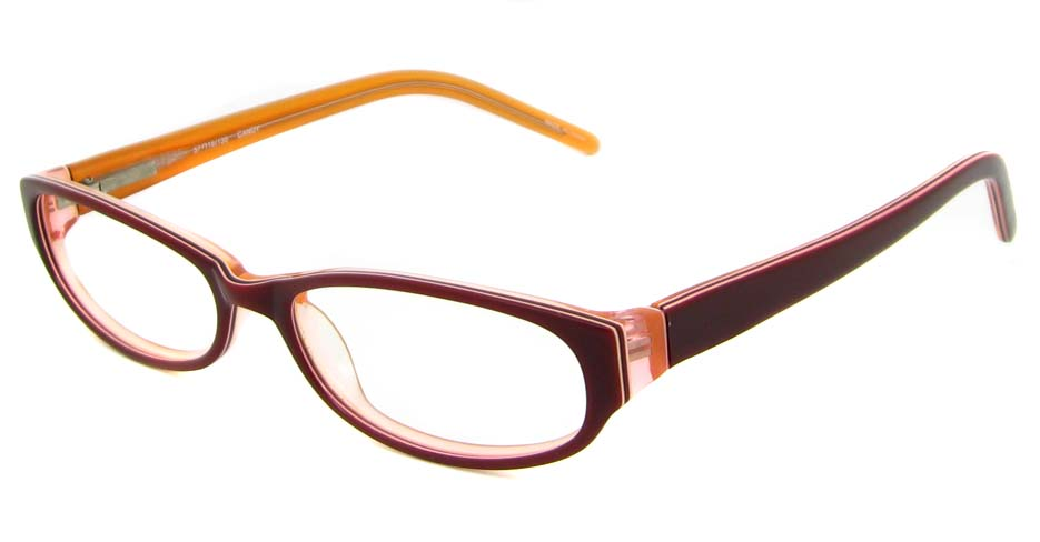 Burgundy acetate rectangular glasses frame   HL-797170