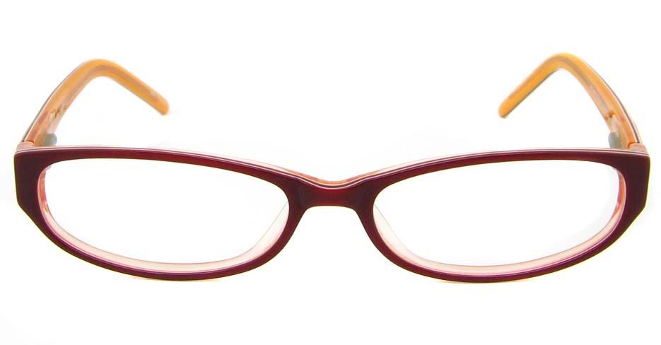 Burgundy acetate rectangular glasses frame   HL-797170