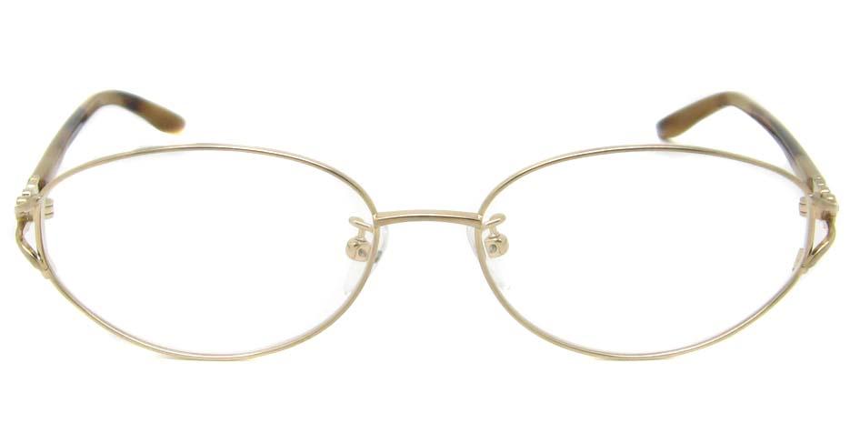 gold oval titanium glasses frame HL-JDGG001-J